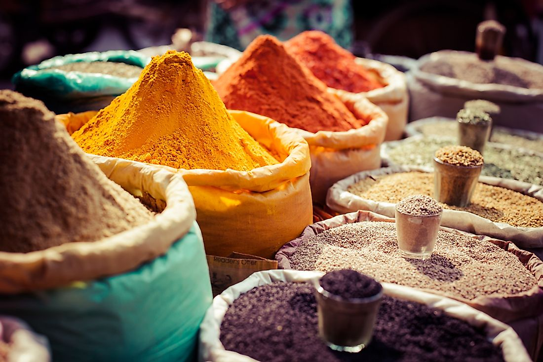 Spices at a market in India.