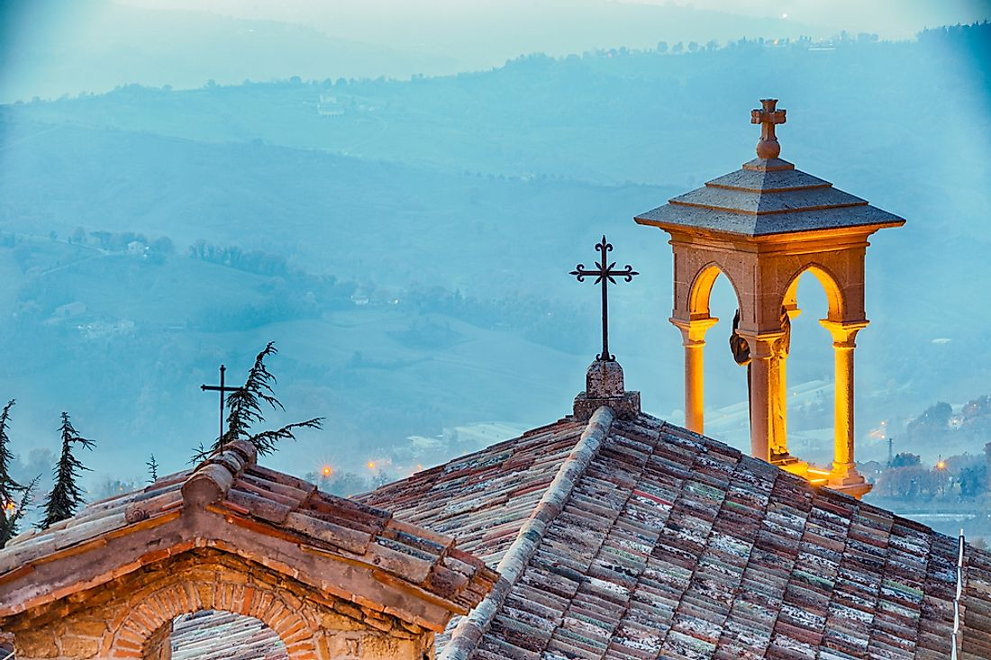 The roof of a church in San Marino.