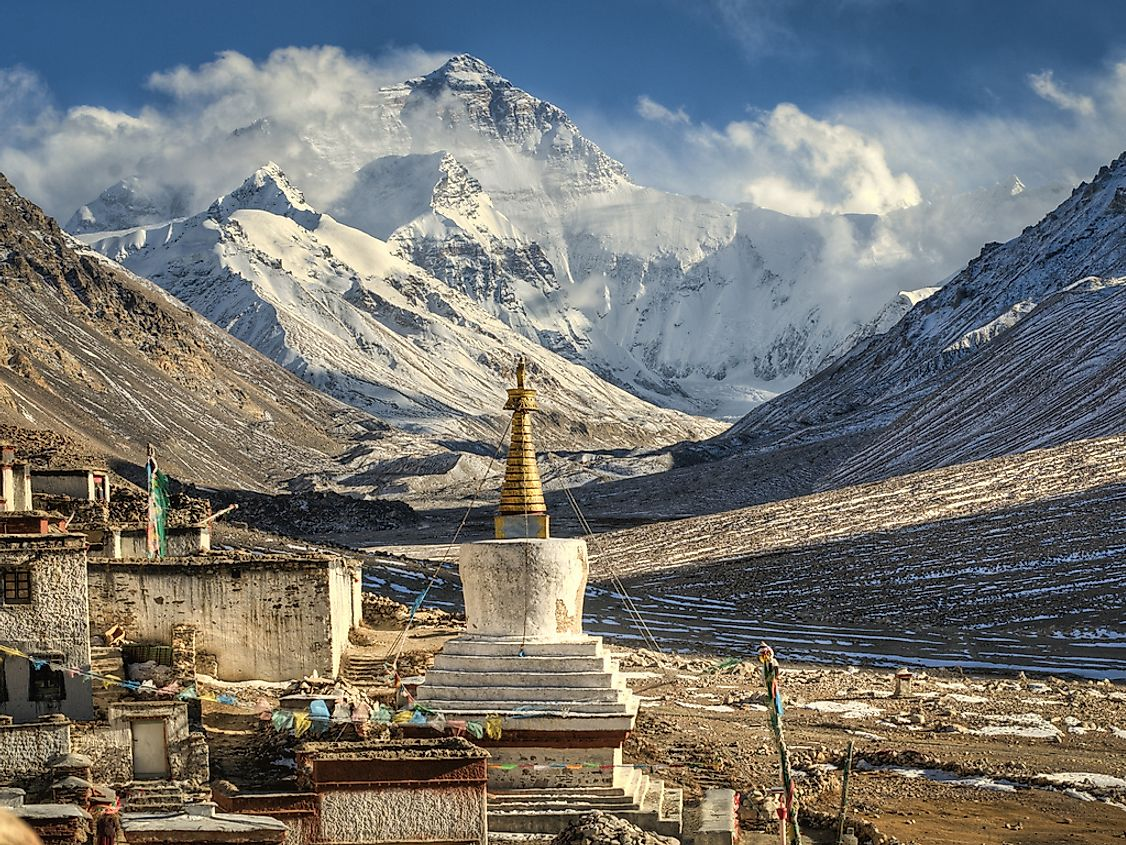 The Rongbuk monastery near the Mount Everest Base Camp.