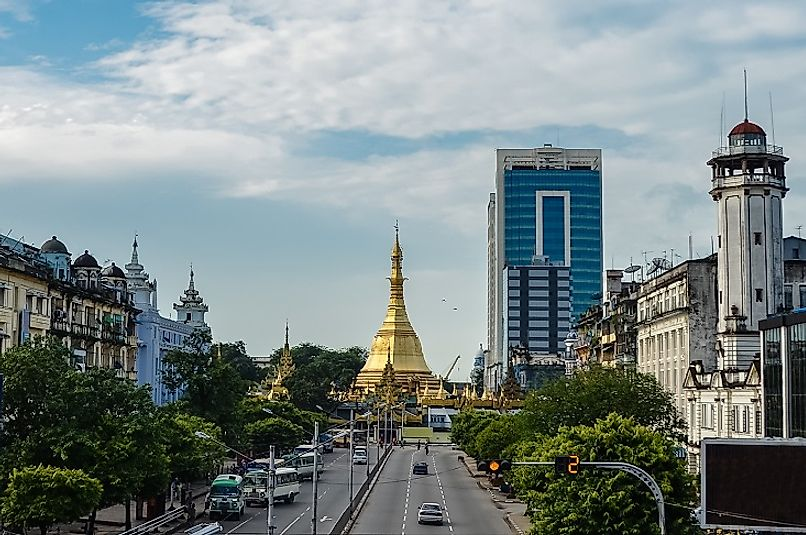 The Sule Buddhist Pagoda, likely built before 500 BC, rises up amidst 21st Century office buildings in Yangon.