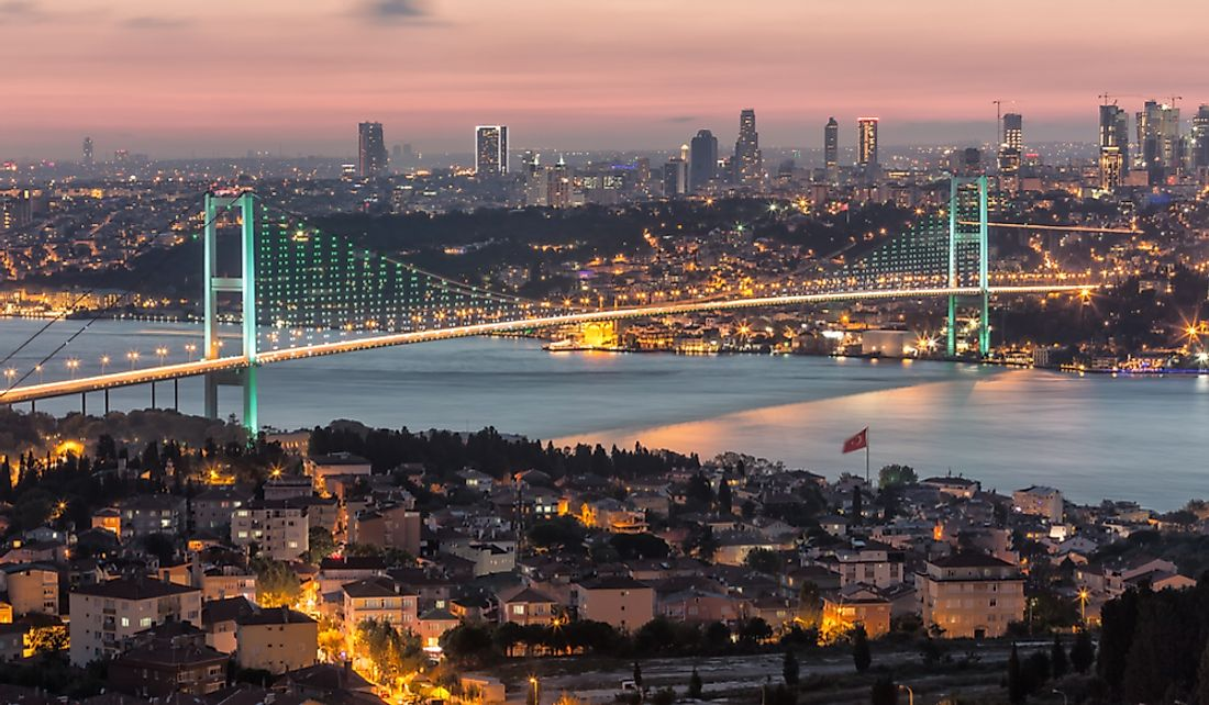 Bosporus Bridge connecting European Istanbul to Asian Istanbul.