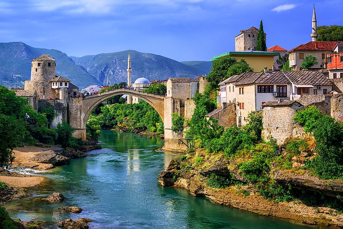 The Neretva flowing through the town of Mostar in Bosnia and Herzegovina.