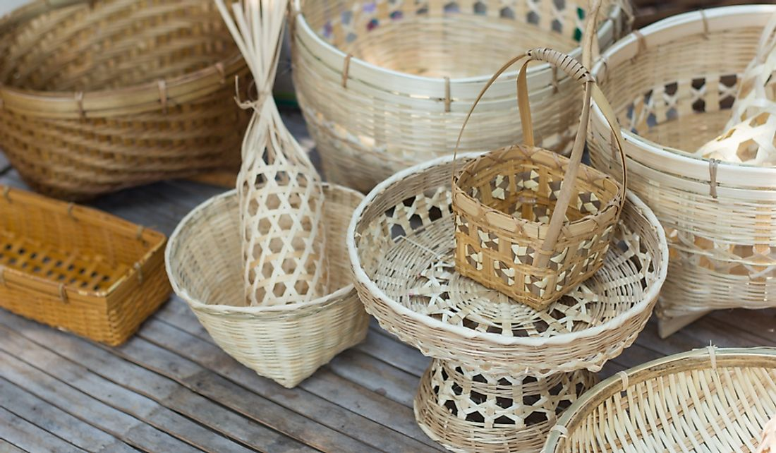 Handmade bamboo and wicker baskets.