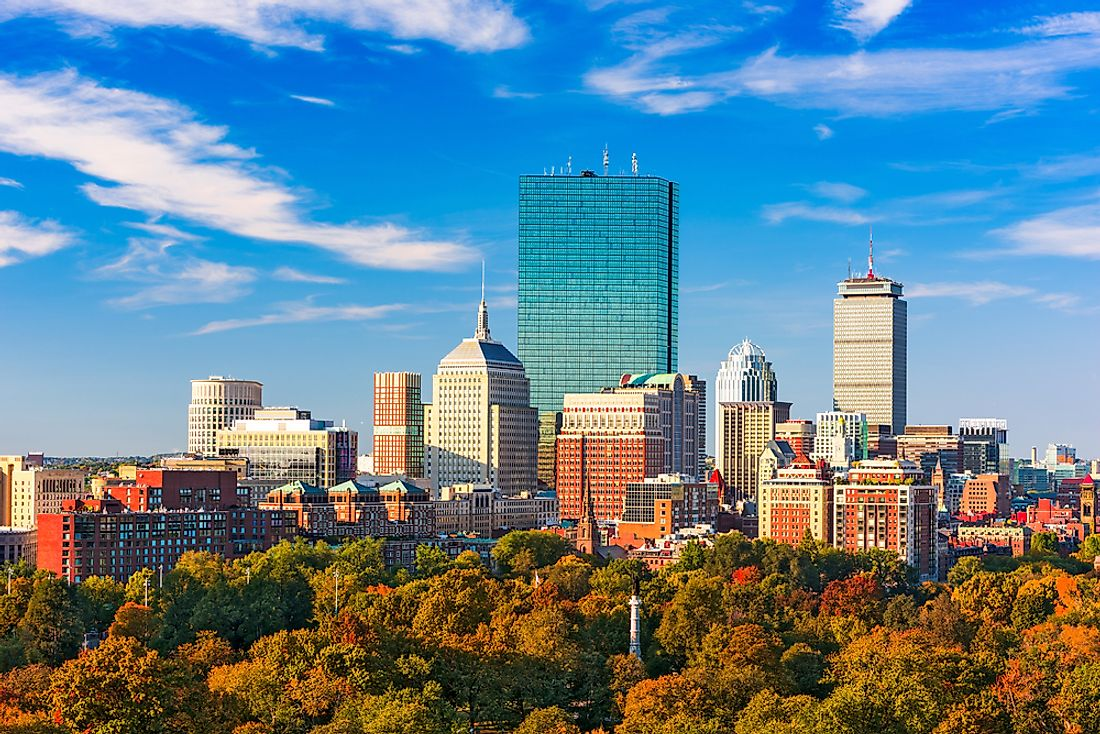 The skyline of Boston, USA.