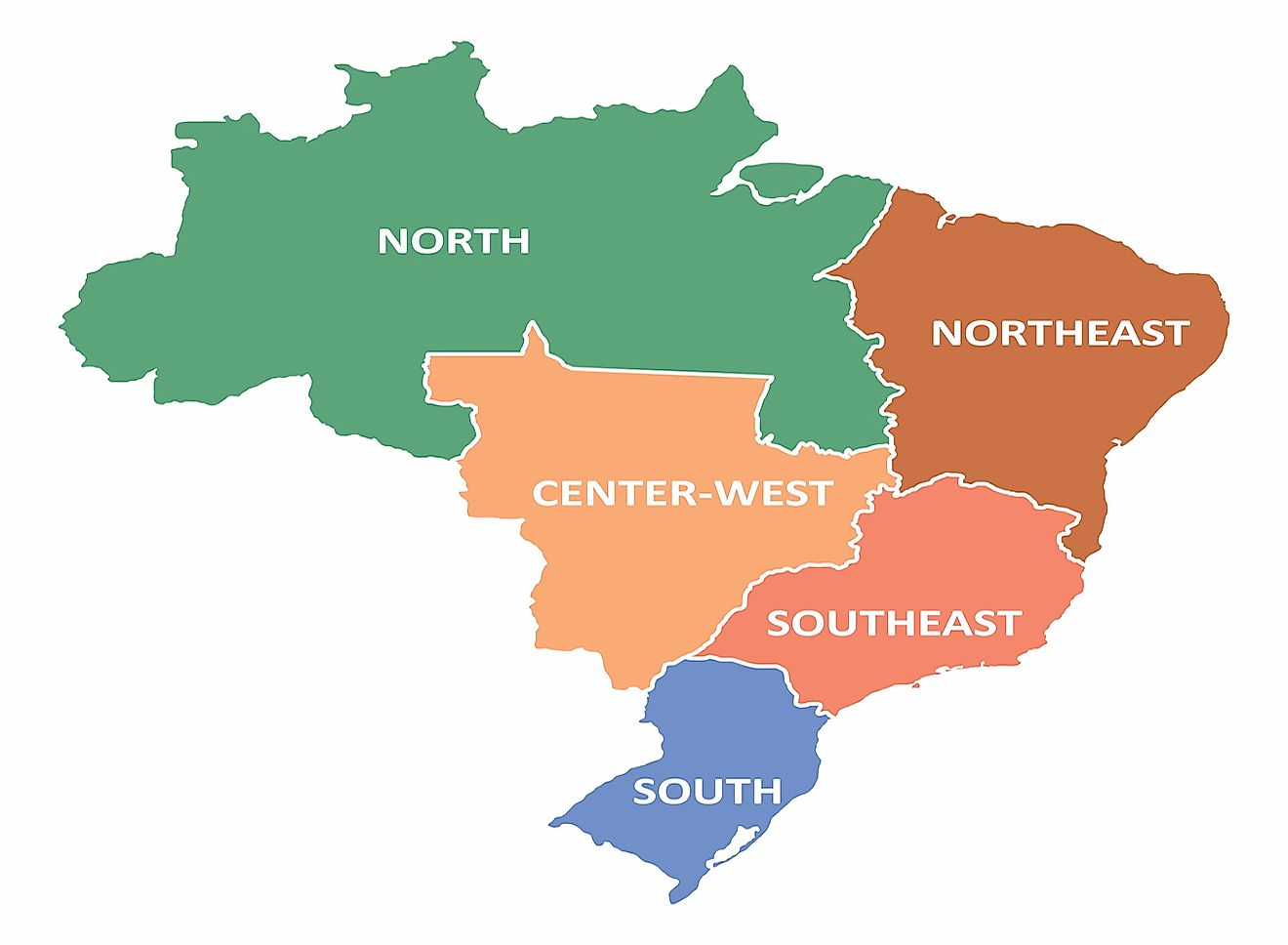A map showing the five regions of Brazil. Image credit: Luisrftc/Shutterstock.com