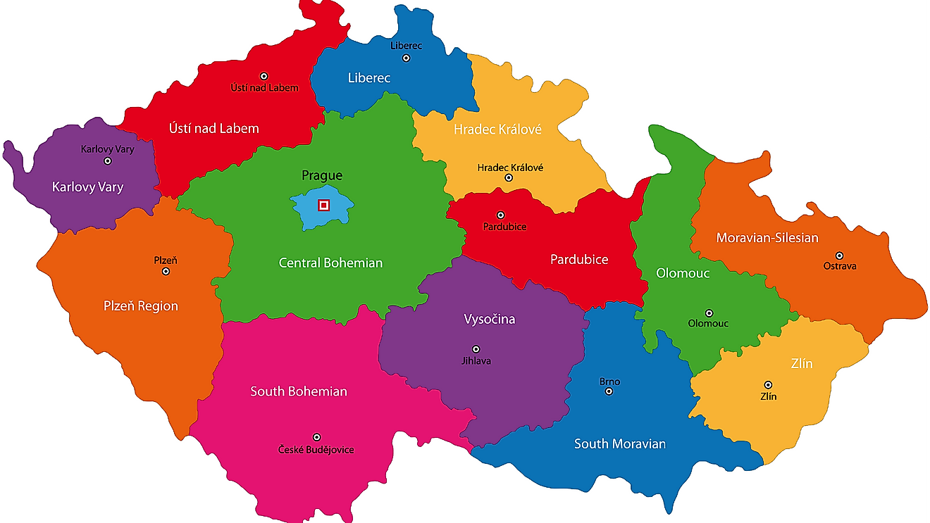 Political Map of Czech Republic showing its 13 regions and the capital city of Prague
