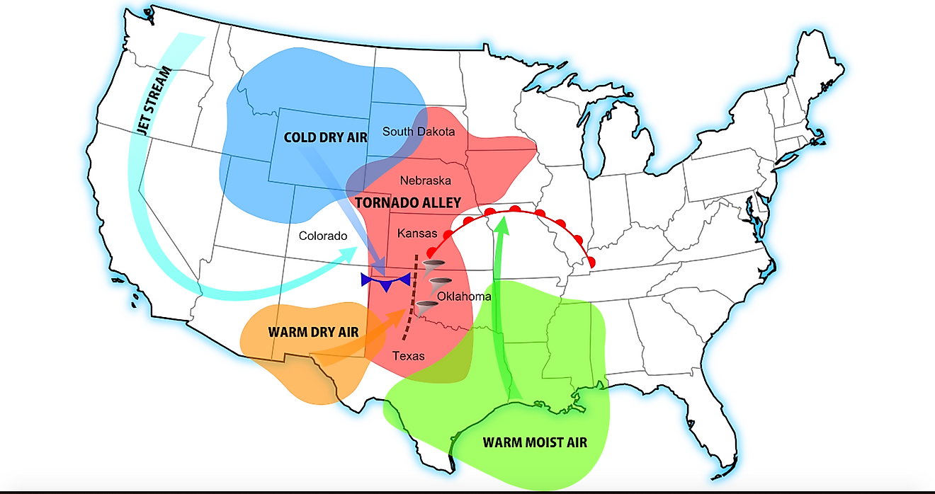 A diagram of tornado alley based on 1 tornado or more per decade. Rough location (red), and its contributing weather systems. Image credit: Dan Craggs/Wikimedia.org
