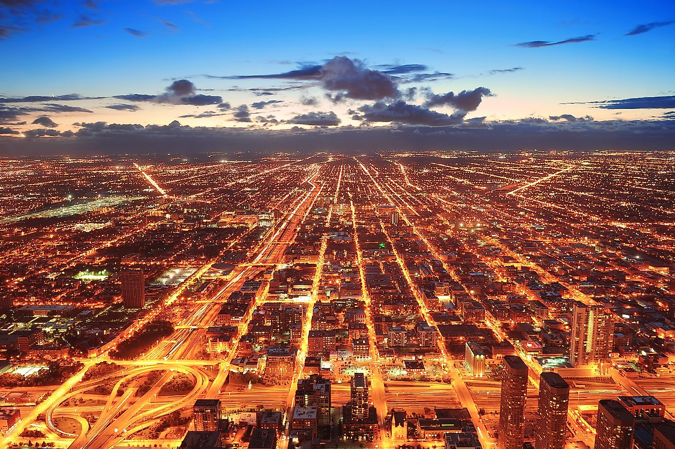 Chicago city lights visible from the sky. Image credit: Songquan Deng/Shutterstock.com