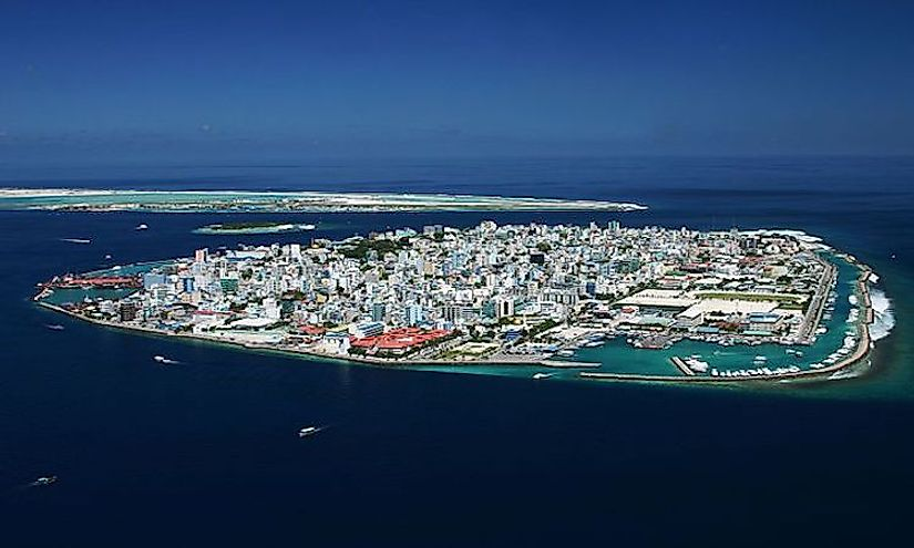 An aerial view of Male, the capital city of Maldives, an island nation.