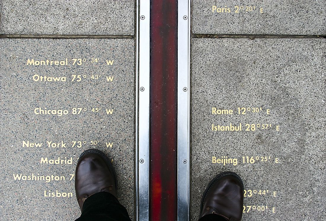 The Greenwich Prime Meridian marked on the ground.