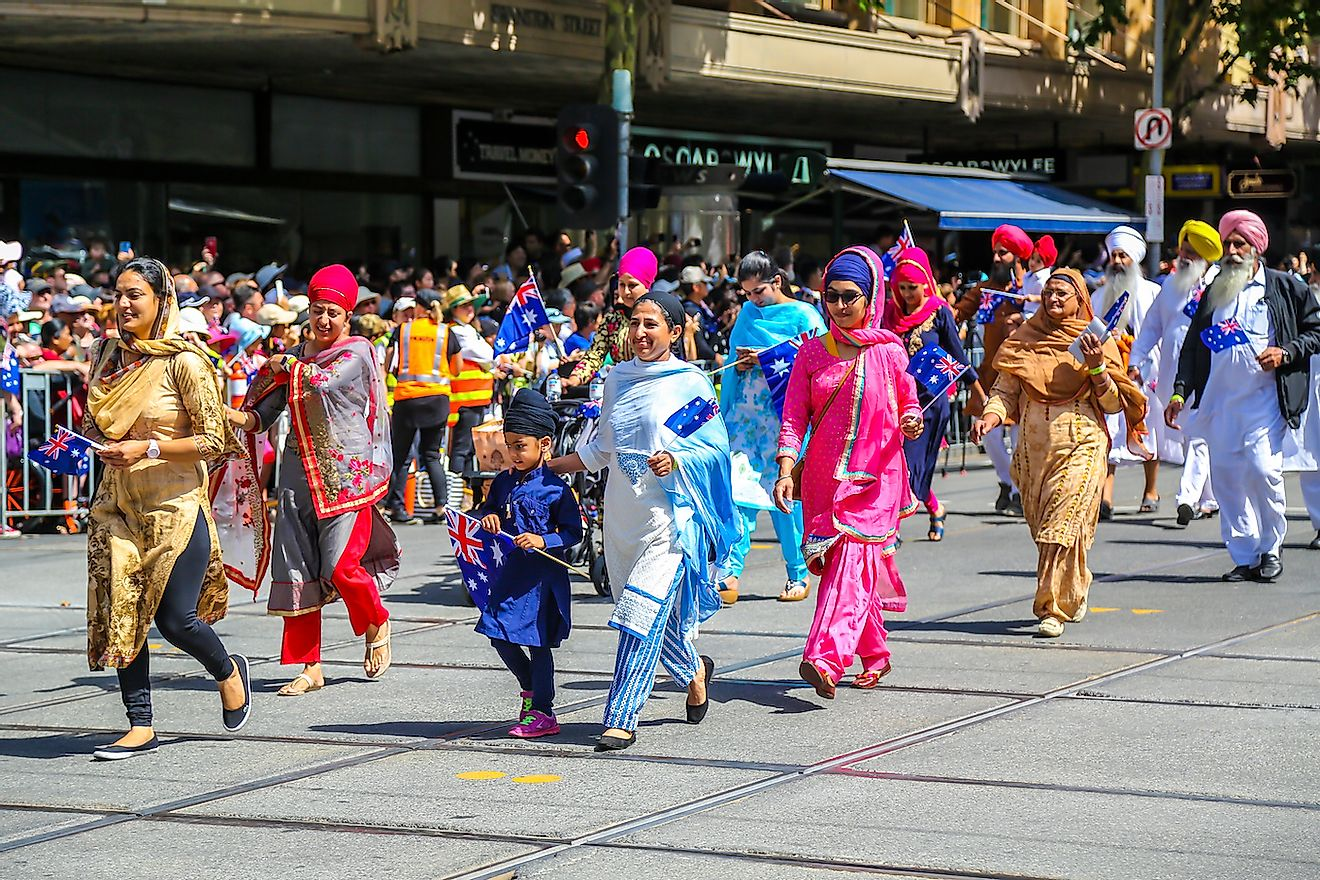 Sikh Volunteers Australia members marching during 2019 Australia Day Parade in Melbourne. Image credit: Leonard Zhukovsky/Shutterstock.com