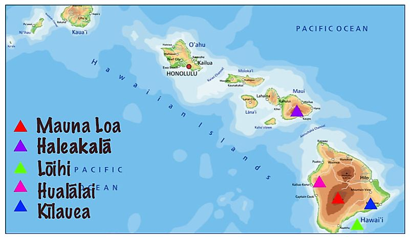A map showing the five active volcanoes in Hawaii.