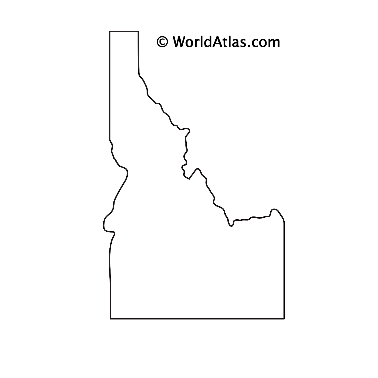 Blank outline map of Idaho