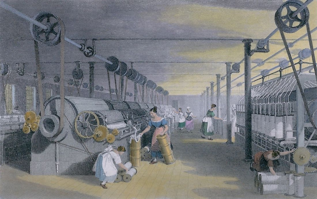 Machines making cotton thread in the industrial revolution.
