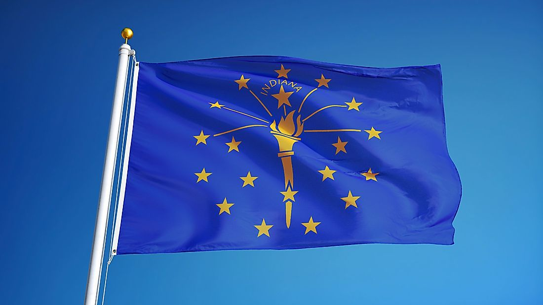 The Indiana State flag emphasizes the enlightenment and liberty of the citizens.