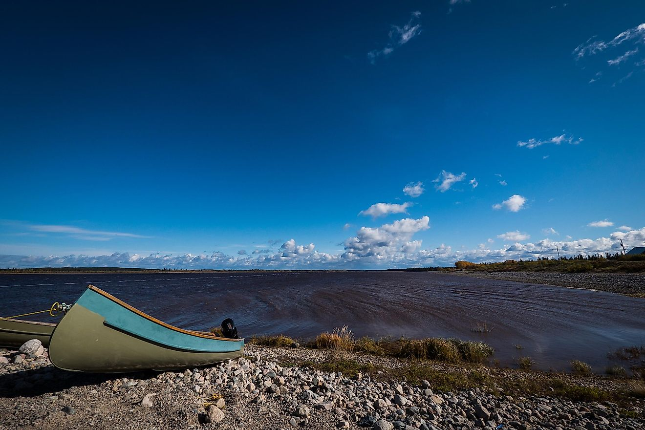 A Cree canoe in Eastmain, Quebec, on the James Bay shore.