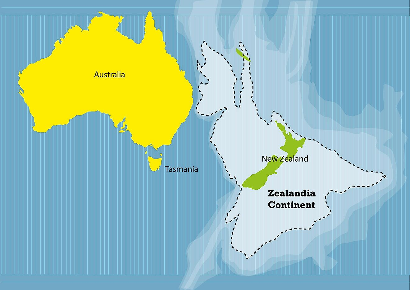A map showing the submerged continent of Zealandia.