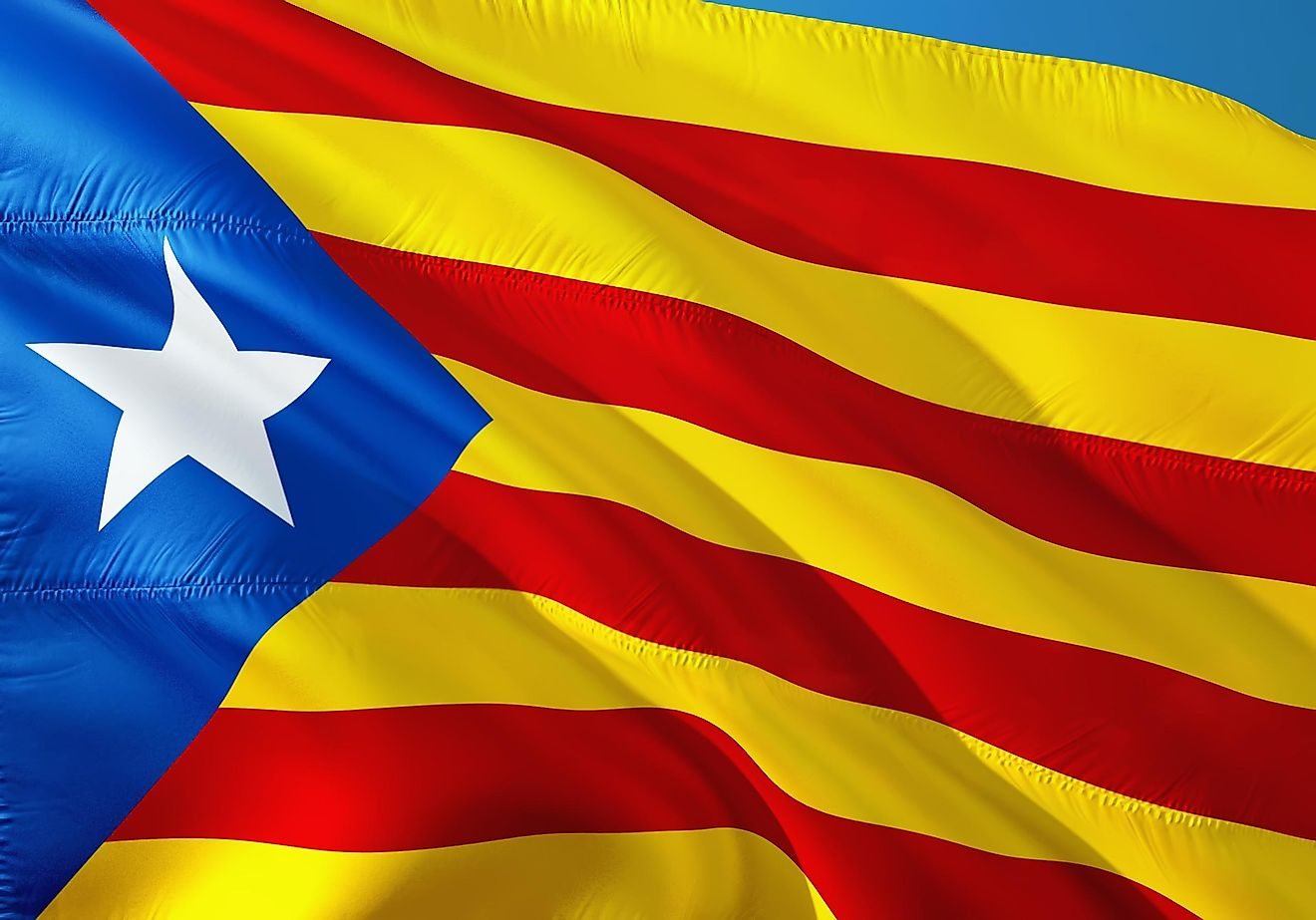 The flag of Catalonia.