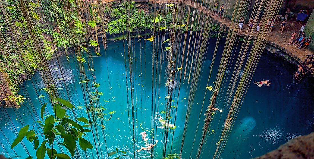The Ik Kil Cenote in Yucatán, Mexico.