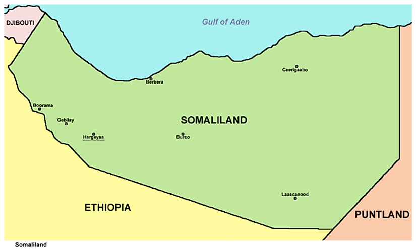 A map exhibiting Somaliland and its neighbours.