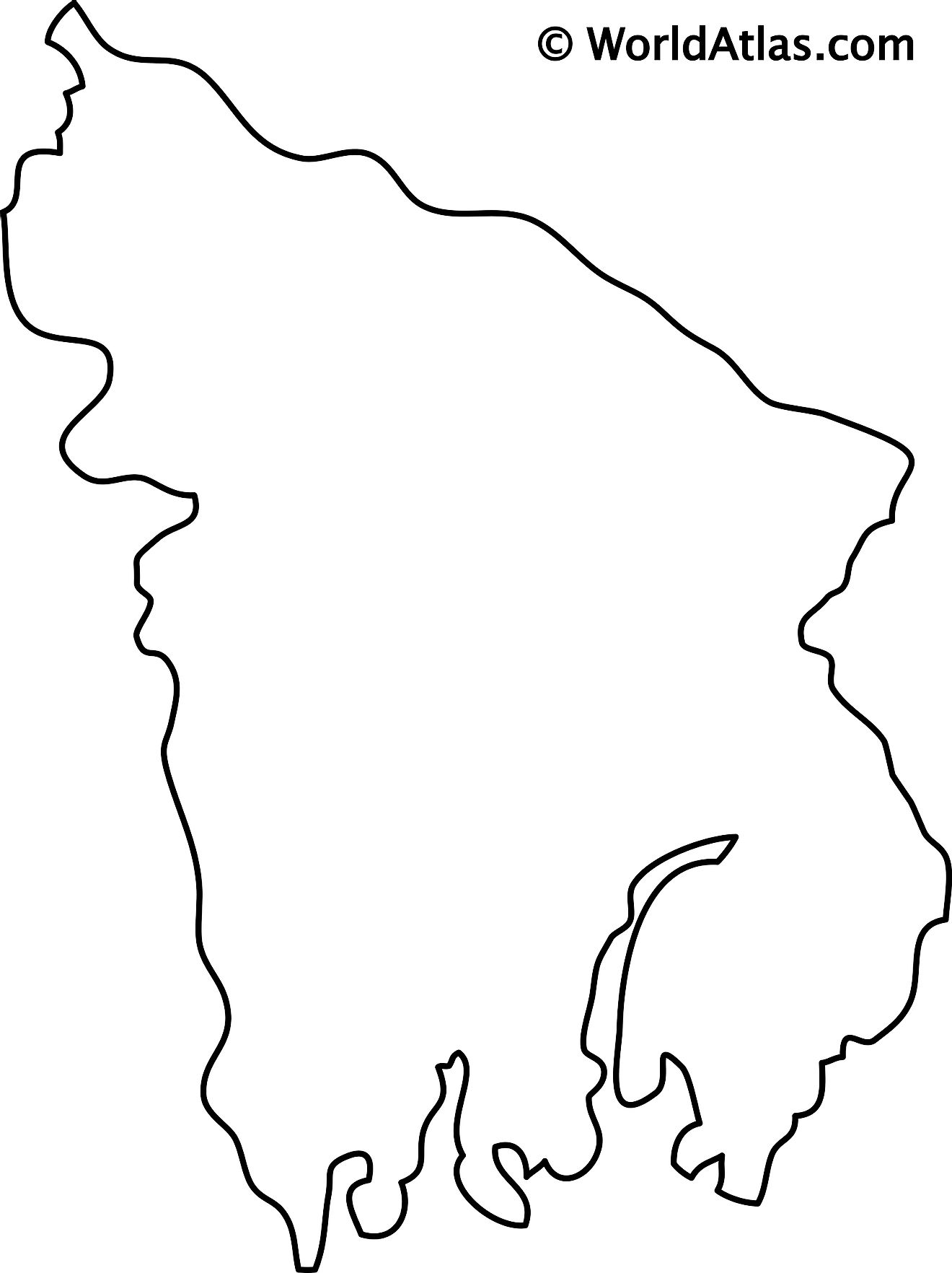 Blank Outline Map of Bangladesh