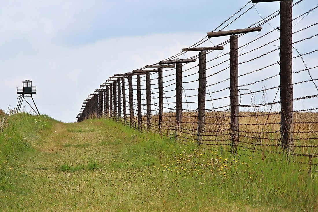 Remains of Cold War era Iron Curtain near border of Austria and former Czechoslovakia.