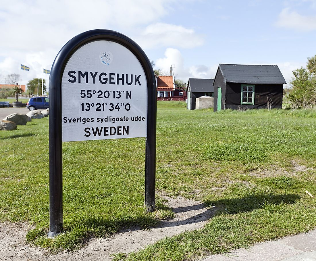 Monument signalling Smygehuk as the southernmost point in Sweden. Editorial credit: Scandphoto / Shutterstock.com