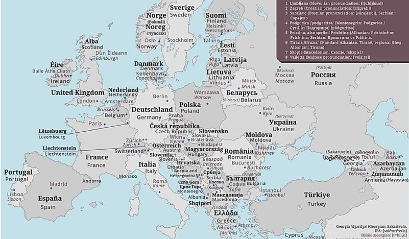 Map of Europe showing the names of countries in their native languages.
