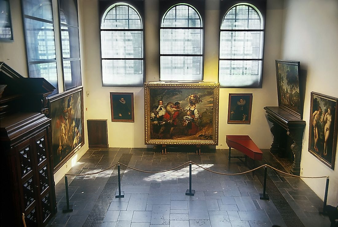 Some of painter Peter Paul Rubens's famous paintings in his home in Antwerp, Belgium.  Editorial credit: Pecold / Shutterstock.com