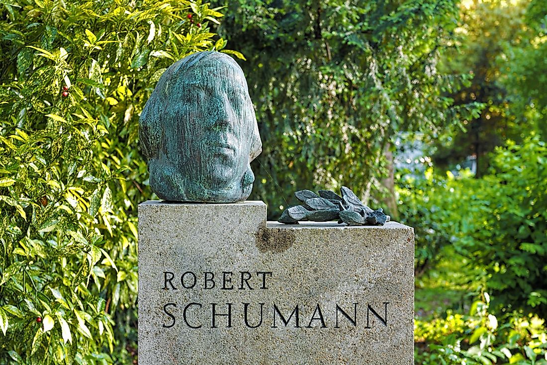 Commemorative monument of Robert Schumann by German sculptor Karl Hartung.  Editorial credit: Mikhail Markovskiy / Shutterstock.com