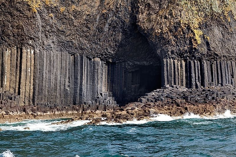 Entrance to Fingal's Cave on Staffa Island in the Southern Hebrides of Scotland. Believe it or not, those well-shapen rocks were formed by nature, not man.