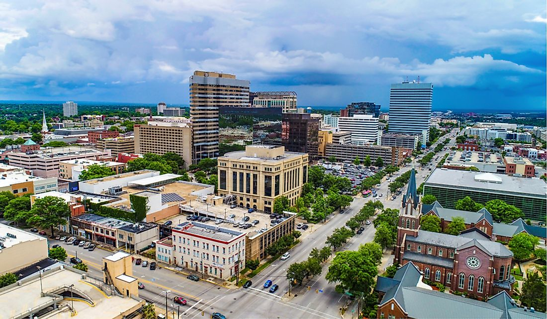 Downtown Columbia, the largest city and capital of South Carolina.