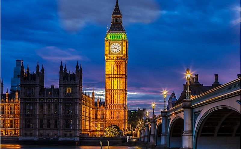 The clock tower of Big Ben is a one of the most famous monuments in London.