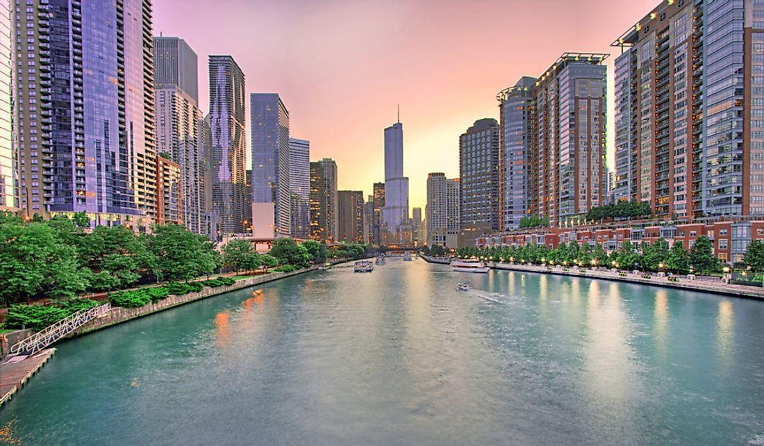 The city of Chicago sits on the banks of the Chicago River.