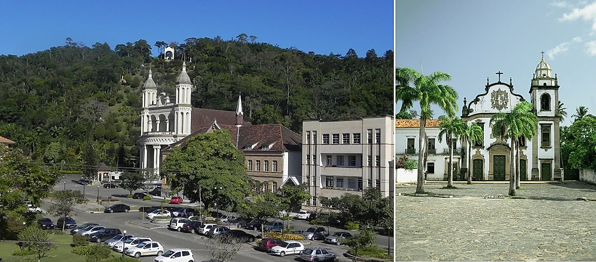 A modern Catholic church in Santa Catarina, Brazil (left), and a very old Catholic church in Olinda, Brazil (right).
