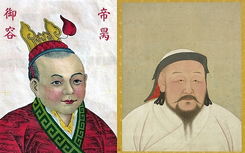 The Song forces of Emperor Zhao Bing (left) fell to Kublai Khan's (right) Mongols in the Battle of Yamen.