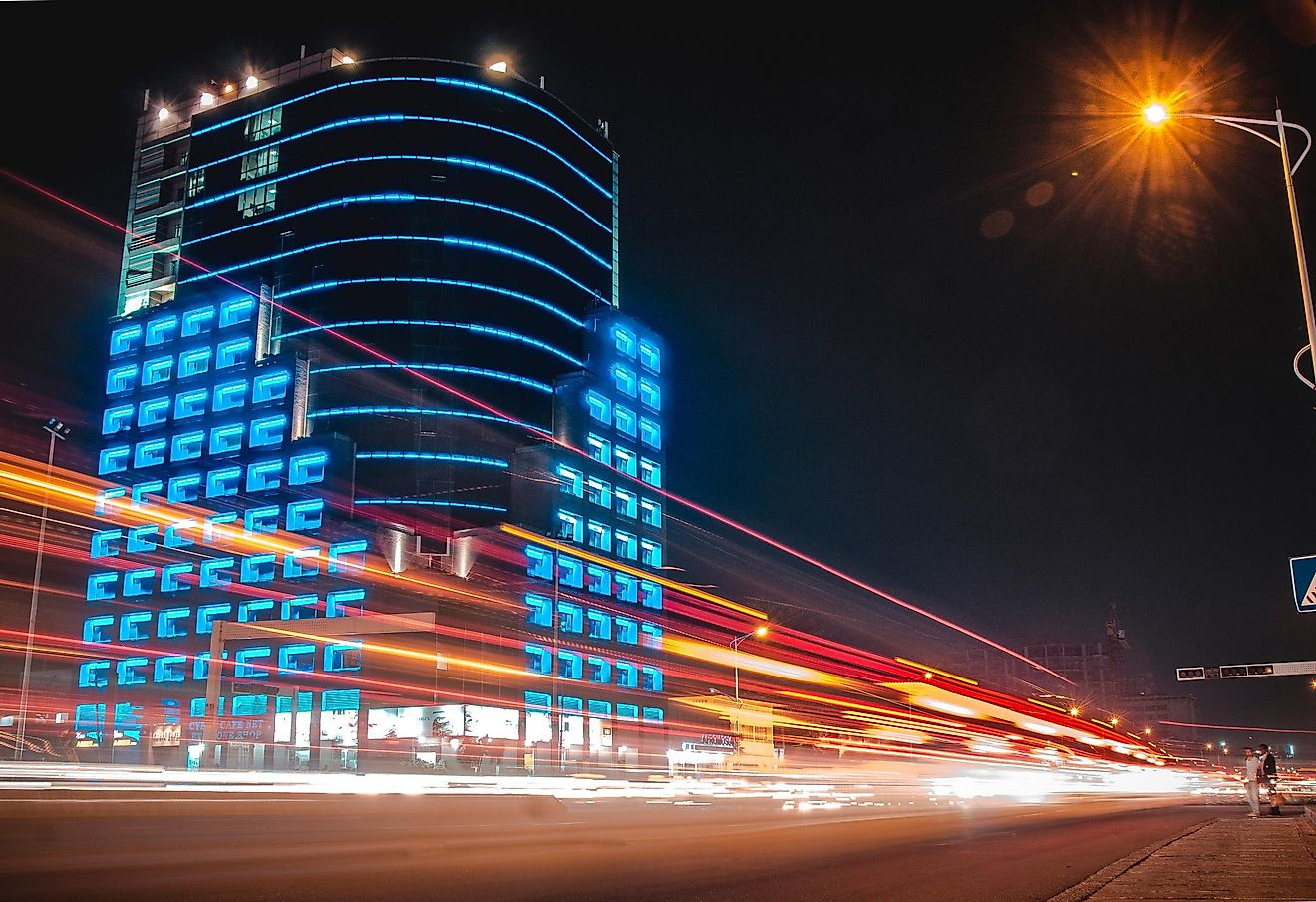Light Streaks in front of The Future Tower on the 30 june Boulevard in Kinshasa, Congo.