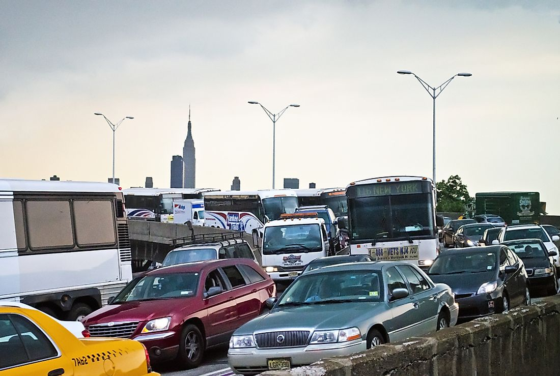 A traffic jam in Weehawken, New Jersey. New Jersey ranked among the US states with the worst quality of life. Editorial credit: Andrew F. Kazmierski / Shutterstock.com.