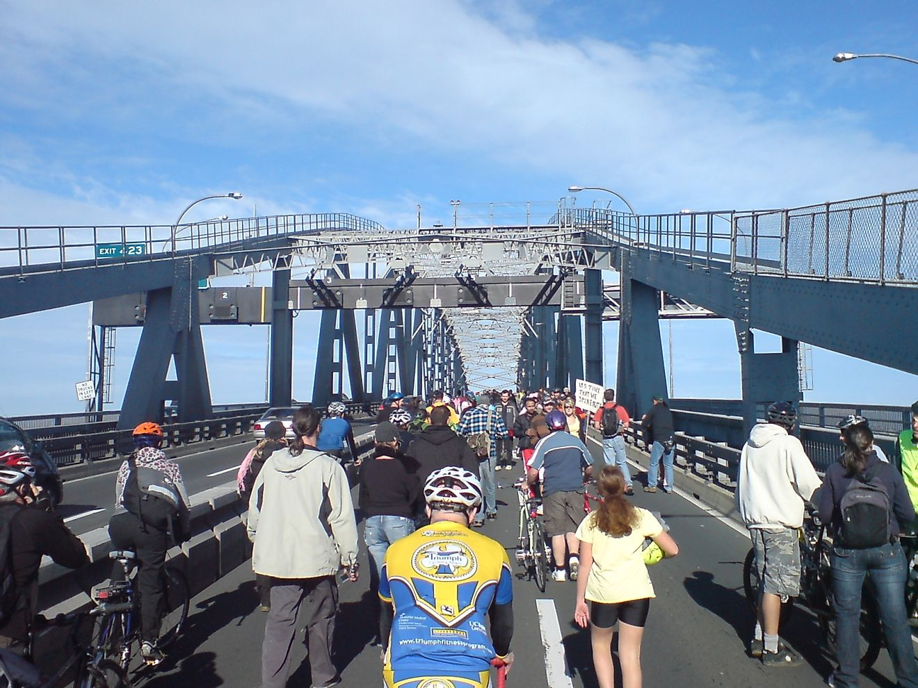 A protest event at Auckland Harbor Bridge in Auckland, New Zealand's most populated city.