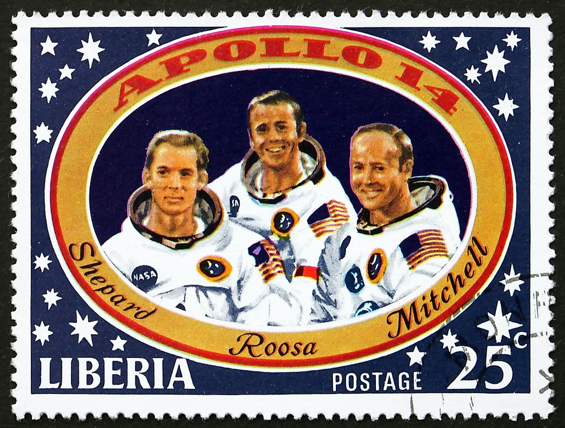 Stamp depicting astronauts Alan Shepard Jr., Stuart A. Roosa, and Edgar D. Mitchell. Editorial credit: Boris15 / Shutterstock.com