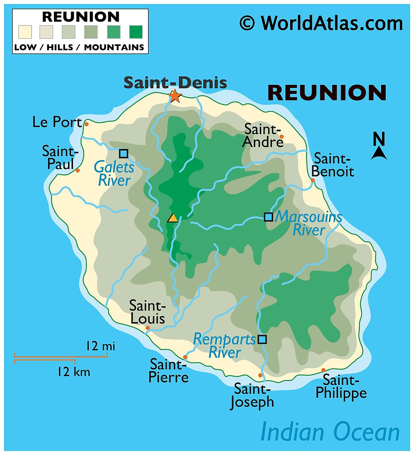 Physical Map of Reunion. It shows the physical features of Reunion Island, its volcanoes and major rivers.