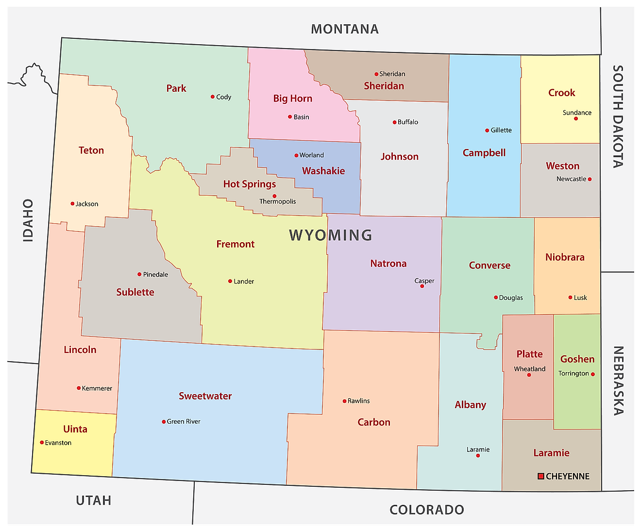 Administrative Map of Wyoming showing its 23 counties and the capital city - Cheyenne