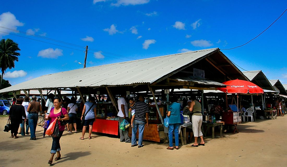 The Saonah Market is a large Javanese market in Paramaribo, Suriname. Editorial credit: WONGIMAM / Shutterstock.com
