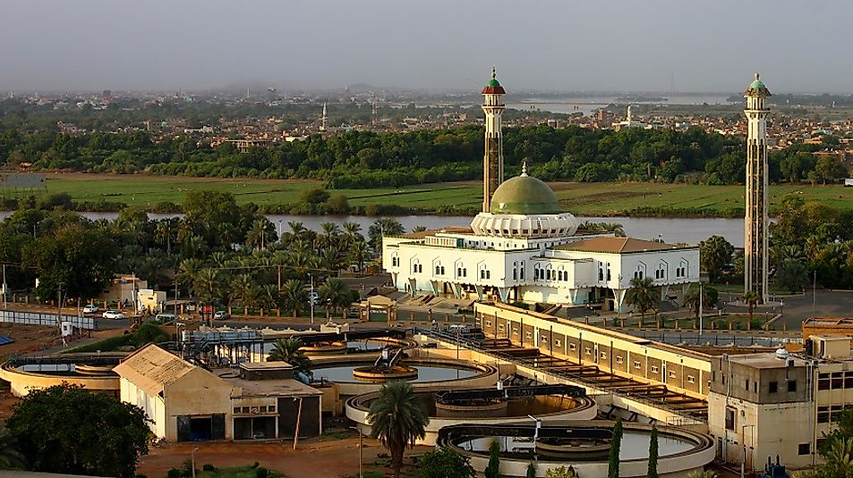 The Al-Mogran Mosque in Khartoum, Sudan.