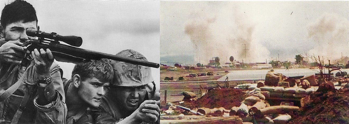U.S. Marine Snipers (left) and explosions from North Vietnamese artillery (right) during the Battle of Khe Sanh.