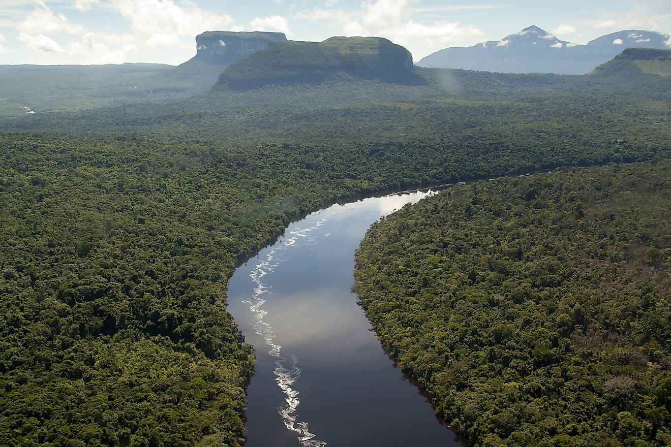 The Orinoco River, pictured here, is one of the largest rivers in Venezuela.
