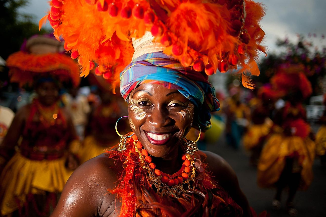 A Caribbean Woman Participating In A Winter Carnival In Guadeloupe