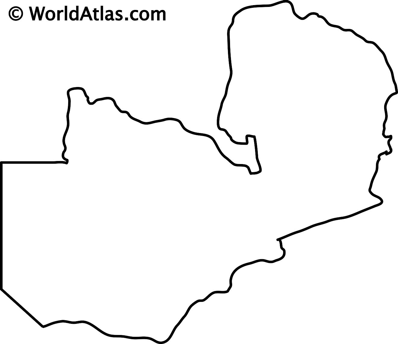 Blank Outline Map of Zambia
