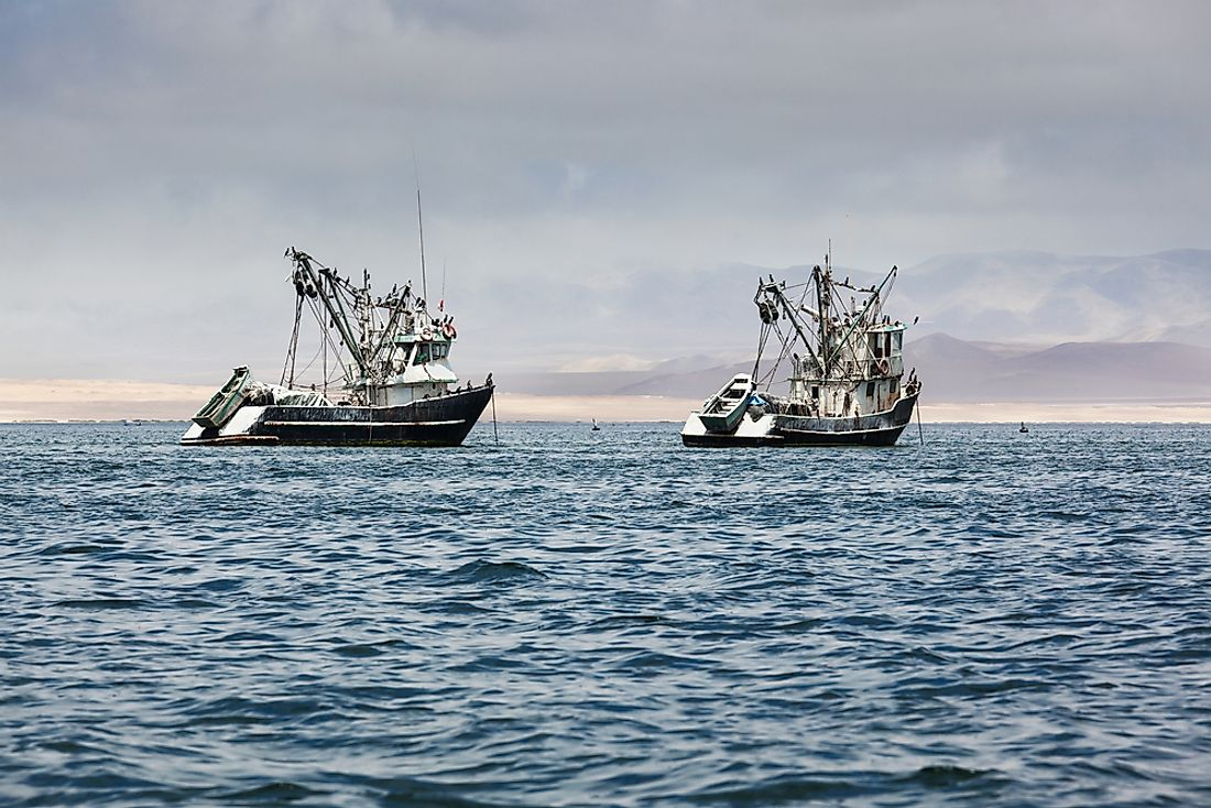 Fishing boats off the coast of Peru.
