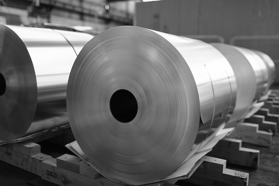 Sheets of aluminum in a processing plant.